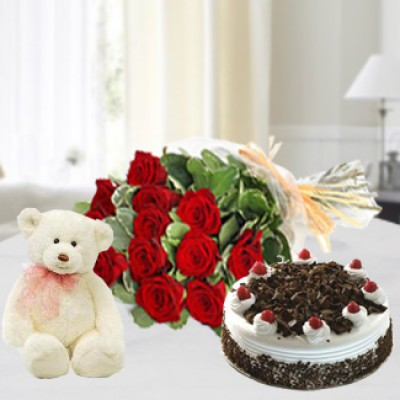 Red Roses , Cake & Teddy