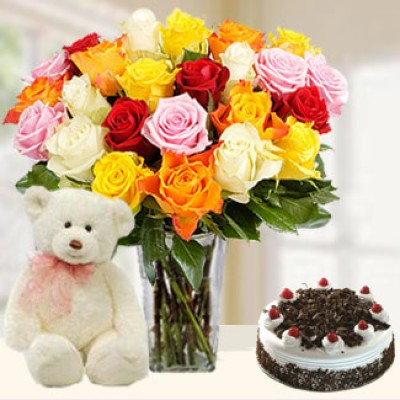 Flowers, Cake & Teddy